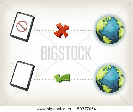 Illustration of web communication icons symbolizing connected and disconnected state of smartphone or tablet pc device to internet