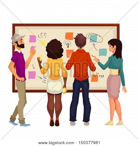 Young creative business people brainstorming ideas at the board, sketch style illustration. Multiethnic group of young people hold a brainstorm standing at the board and using sticky notes