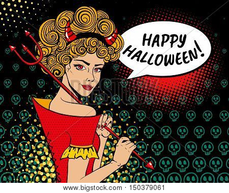 Happy Halloween! Sexy Surprised Devil Woman Ginger Curly Hair, Red Horns, Trident And Speech Bubble.
