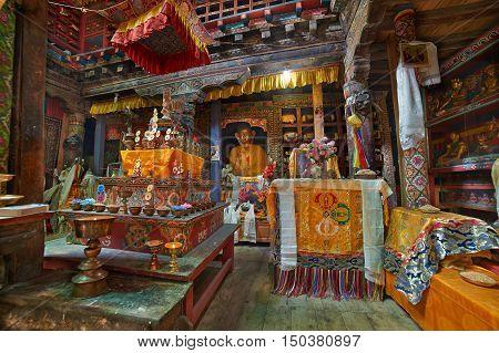 Braga Annapurna region Nepal - April 19 2013: Old Buddhist Monastery in Braga Annapurna circuit trek Nepal. 19 April 2013 Braga Annapurna region Nepal.