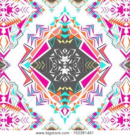 Vector seamless texture. Tribal geometric pattern. Electro pink boho color trend. Aztec ornamental style. Ethnic native American Indian ornaments