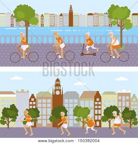 Banners Elderly people doing exercises. Healthy lifestyle, active lifestyle retiree. Sport for grandparents, elder Yoga in city and urban cycling for Seniors. Vector illustration eps10