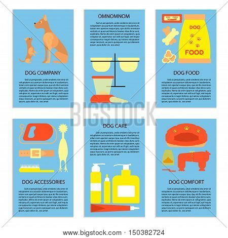 Flyers with dog care, accessories, food elements, isolated elements. Pets shop vector illustration concept. Vector illustration eps 10