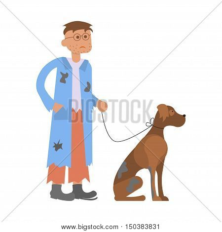 Tramp person. Hungry man with homeless dog in dirty rags. Isolated character bum for infographic. Vector illustration eps10