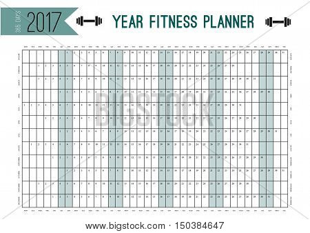 Year Wall Planner template. Plan out your whole fitness year with this calendar. Vector Design for fitness, sport and diet.