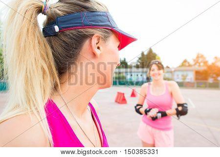 Sporty Girls In Golf Rollerblade