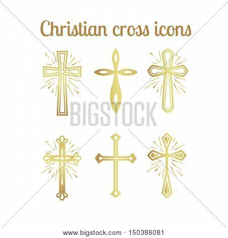 Golden christian cross icons isolated set. Vector illustration