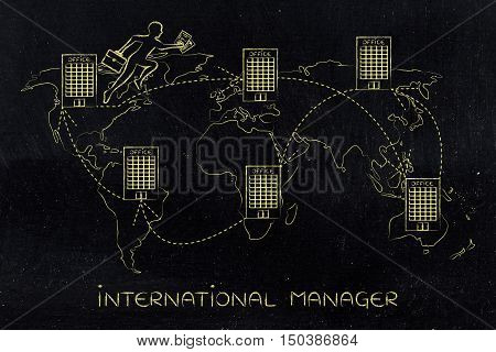 concept of establishing a multinational company or working abroad: business man jumpying from one office to another on map of the world