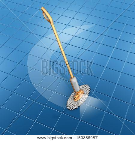 spray mop orange with floor tiles blu