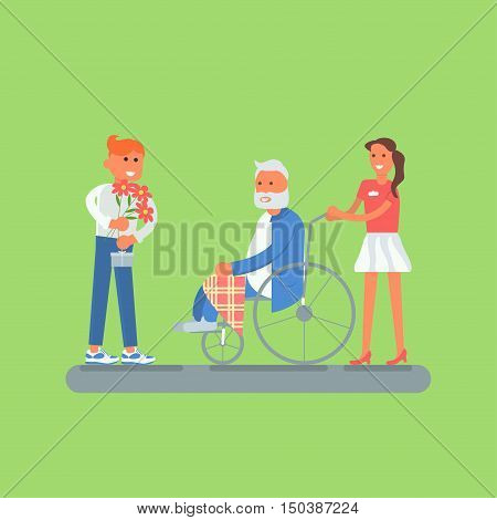 Flat design of young volunteers with senior, grandfather. Older man disabled person in a wheelchair. Vector illustration eps 10