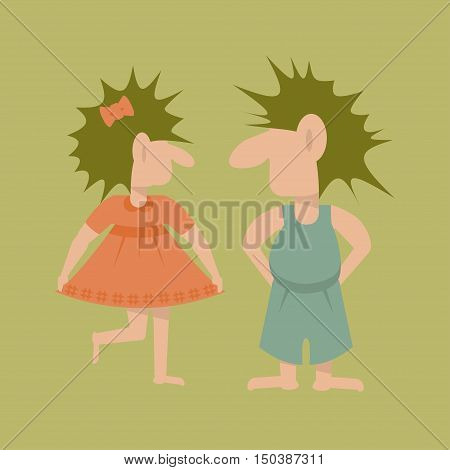 Pair of Trolls. Flat template isolated. Vector illustration simple cartoon of fairy giant girl and boy . In Scandinavian mythology a fabulous creatures.