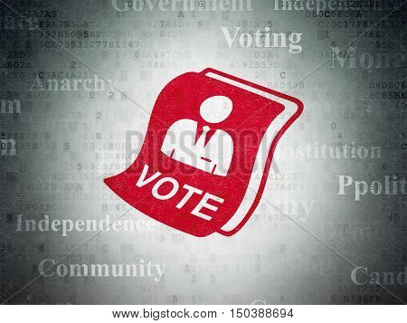 Politics concept: Painted red Ballot icon on Digital Data Paper background with  Tag Cloud