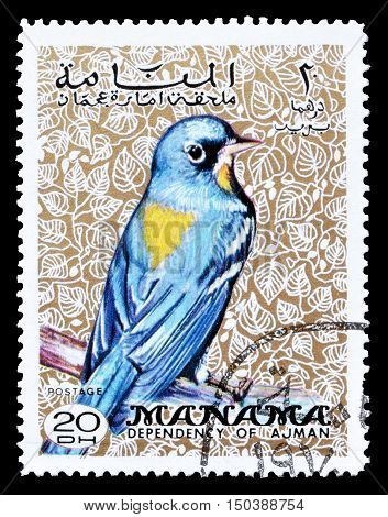 MANAMA - CIRCA 1970 : Cancelled postage stamp printed by Manama, that shows Northern Parula.
