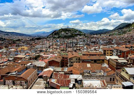 Panoramic view over the city of Quito; Ecuador