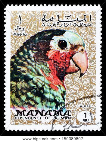 MANAMA - CIRCA 1970 : Cancelled postage stamp printed by Manama, that shows Cuban Amazon.