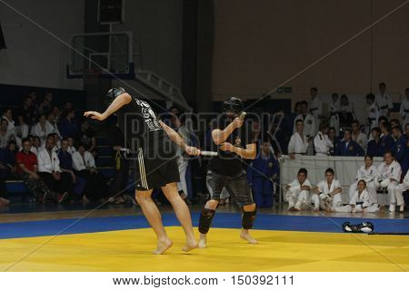 BELGRADE,SERBIA - SEPTEMBER 24 ,2016: Fighters demonstrate actions at martial arts evening