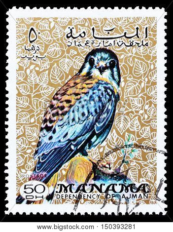 MANAMA - CIRCA 1970 : Cancelled postage stamp printed by Manama, that shows American Kestrel.