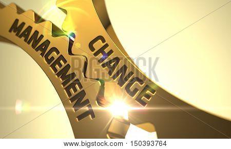 Golden Metallic Cog Gears with Change Management Concept. 3D.