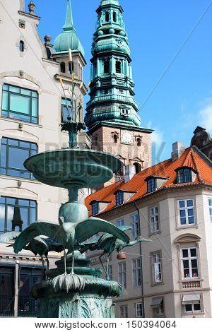 Amagertorv central pedestrian area in Storkespringvandet Copenhagen Denmark poster