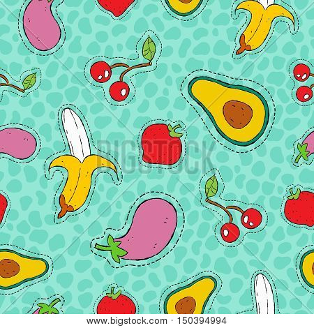 Fruit And Vegetable Hand Drawn Patch Icon Pattern