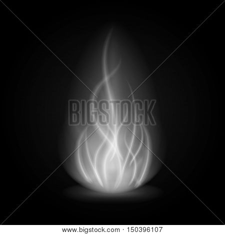 Abstract Fire Smoke Light On Black Background Vector Illustration.