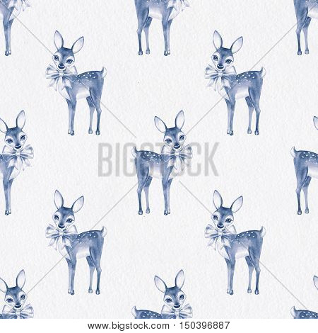 Pattern with Baby Deer. Hand drawn cute fawn on paper background. Seamless background 2