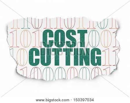Business concept: Painted green text Cost Cutting on Torn Paper background with  Binary Code