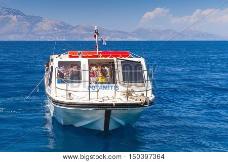 Small Pleasure Boat With Tourists, Greece