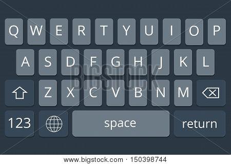 Smartphone keyboard, mobile phone keypad vector mockup. Keyboard for mobile device illustration