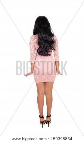 A pretty young woman in a pink dress standing from the back with her long black curly hair isolated for white background.