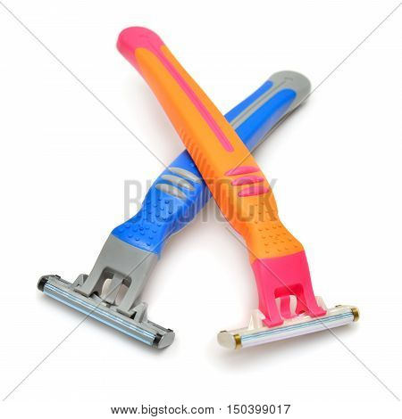 Men's and women's razor faced isolated on white background. Shave. Orange pink yellow