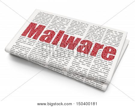 Security concept: Pixelated red text Malware on Newspaper background, 3D rendering