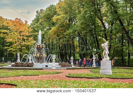 ST. PETERSBURG RUSSIA - SEPTEMBER 05 2016: Summer garden in autumn. This park is one of the oldest in Saint Petersburg it was designed by Czar Peter in 1704.