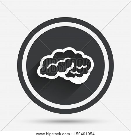 Brain with cerebellum sign icon. Human intelligent smart mind. Circle flat button with shadow and border. Vector