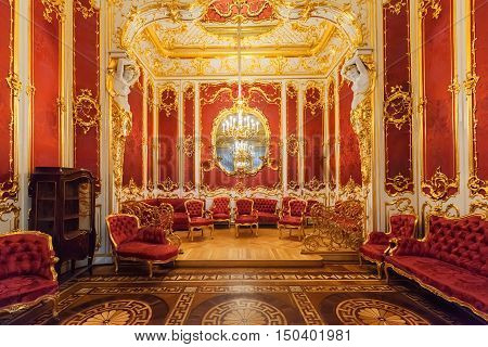 SAINT PETERSBURG, RUSSIA - AUGUST 19, 2016:  Magnificent Interior of the State Hermitage (Winter Palace). Hermitage is one of the largest and oldest museums of art and culture in the world