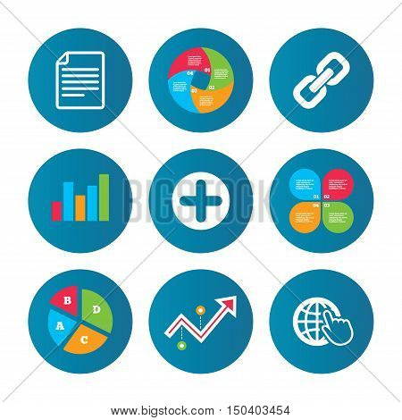 Business pie chart. Growth curve. Presentation buttons. Plus add circle and hyperlink chain icons. Document file and globe with hand pointer sign symbols. Data analysis. Vector