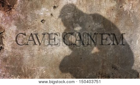 Cave Canem. Latin phrase literally meaning Beware the dog.