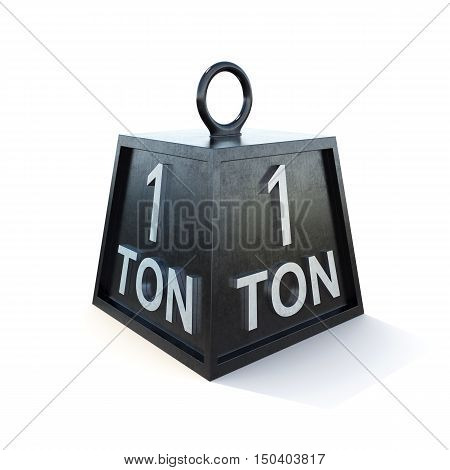 One 1 ton weight isolated on white background. 3d rendering.