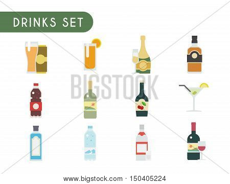 Set of flat color icons. Drinks: wine, champagne, vodka, whiskey, beer gin Martini liquor water soda juice
