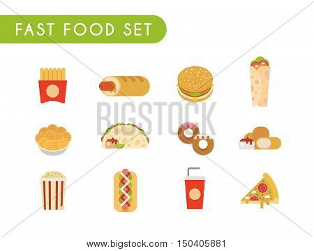 Set of flat color icons. Fast food: French fries, French hot dog, hamburger, soda, roll, chips, tacos, donuts chicken nuggets popcorn hot dog pizza
