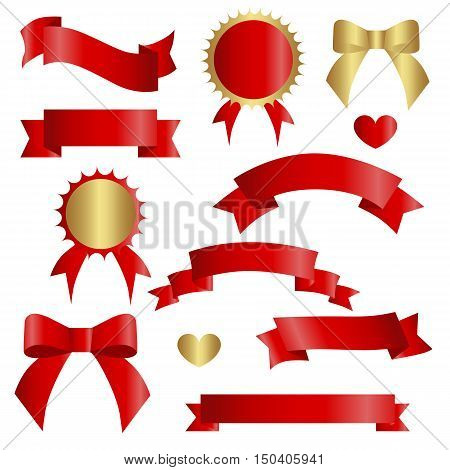 Ribbon vector icon set red color on white background. Banner isolated shapes illustration of gift and accessory. Christmas sticker and decoration for app and web. Label badge and borders collection.