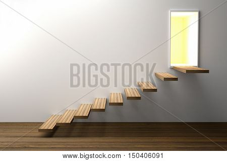 3D Rendering : illustration of wooden stair or steps up to the light shining door against white wall background with wooden floor,business success concept,rise,growth,hope or future