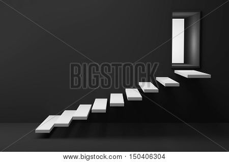3D Rendering : illustration of wooden stair or steps up to the light shining door against black wall and floor,business success concept,rise, growth,hope or future
