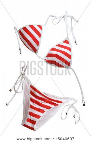 red woman swimming suit isolated on white