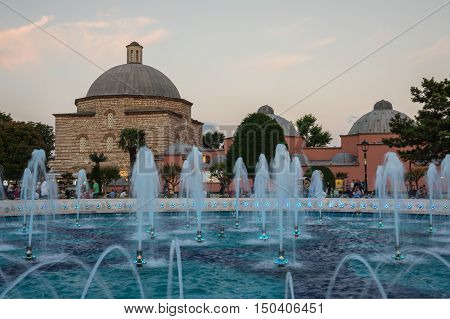 ISTANBUL TURKEY - JUNE 25 2015: View on fountain in the historical centre of Istanbul district Sultanahmet Turkey