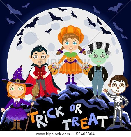 Children in halloween costumes. Vampire Dracula witch pumpkin zombie skeleton. Halloween background