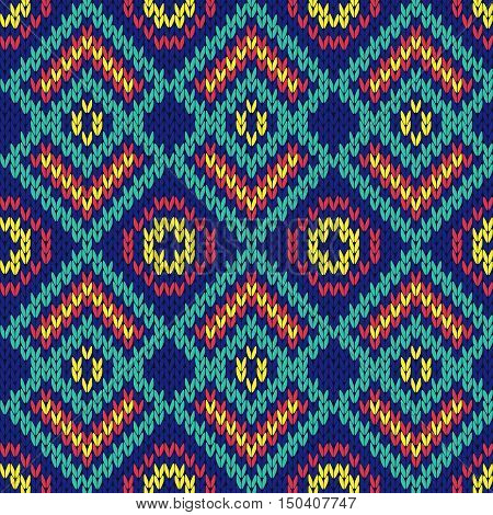Ornate Ethnic Knitting Motley Seamless Pattern Mainly In Blue Hues
