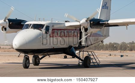 De Havilland Canada Dhc-6-100 Twin Otter Aiplane In Sde-teyman Airport. Beer-sheva. Israel