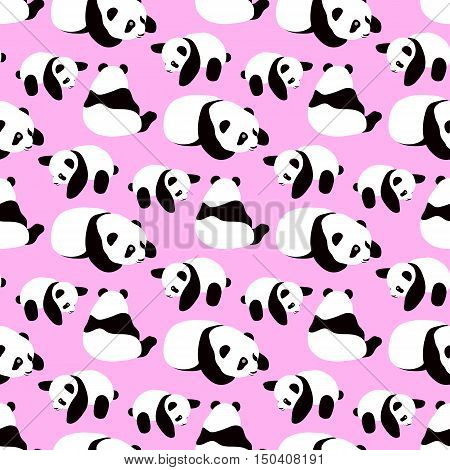 Panda bear vector background. Seamless pattern with cute cartoon panda.