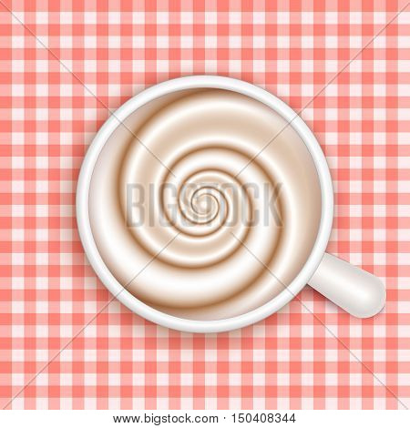 Top view of white coffee cup on red gingham patterned cloth. Cappuccino full cup hot chocolate coffee and cream high milk foam. Coffee cup top view vector illustration.